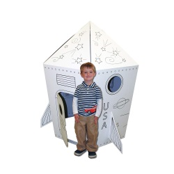 Cardboard Coloring Rocket Playhouse